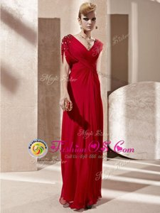 Red V-neck Side Zipper Beading and Ruching Evening Dress Short Sleeves