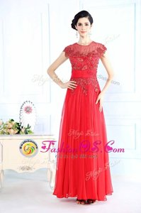 Scoop Coral Red Sleeveless Beading Floor Length Prom Dresses