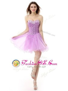 Graceful A-line Celebrity Dress Lilac Sweetheart Organza Sleeveless Knee Length Lace Up