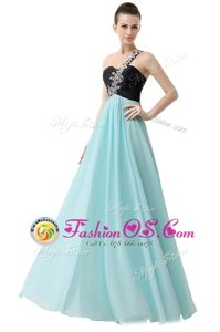 Edgy Blue And Black Empire One Shoulder Sleeveless Chiffon Floor Length Zipper Beading and Ruffles Prom Party Dress