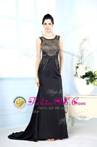 Floor Length Black Red Carpet Gowns Chiffon Sleeveless Beading