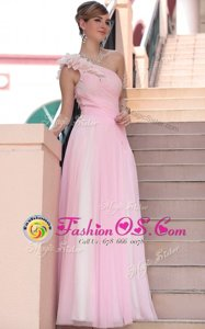 Sequins Hot Pink Sleeveless Chiffon Zipper for Prom and Party