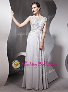 Fashionable Silver Side Zipper Bateau Appliques and Ruching Prom Dresses Chiffon Cap Sleeves