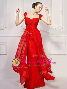 Flare With Train Red Evening Dress Lace Brush Train Cap Sleeves Beading and Lace and Sashes|ribbons