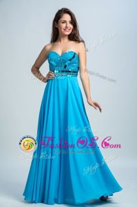 Baby Blue Column/Sheath Chiffon Sweetheart Sleeveless Beading Floor Length Zipper Prom Dresses