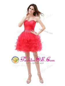 Stylish Red Zipper Sweetheart Beading and Ruffled Layers Prom Party Dress Organza Sleeveless