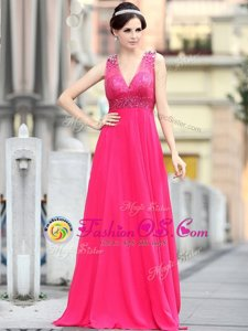 Custom Fit Sleeveless Chiffon With Brush Train Zipper Evening Dress in Hot Pink for with Beading and Sequins