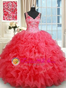 Fabulous Coral Red Sweet 16 Dress Military Ball and Sweet 16 and Quinceanera and For with Beading and Ruffles V-neck Sleeveless Backless