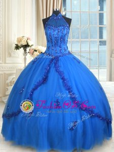 One Shoulder Sleeveless Tulle Floor Length Lace Up 15th Birthday Dress in Red for with Beading and Appliques