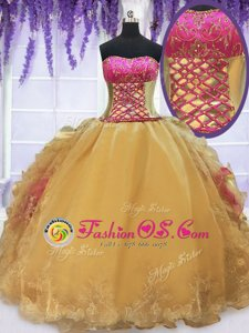 Fashionable Floor Length Gold Sweet 16 Quinceanera Dress Strapless Sleeveless Lace Up