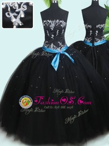 Fancy Black Ball Gowns Beading and Belt Quinceanera Gown Lace Up Tulle Sleeveless Floor Length