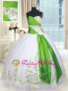 Sleeveless Lace Up Floor Length Embroidery and Belt and Hand Made Flower Quinceanera Gown