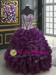Multi-color Tulle Lace Up Sweetheart Sleeveless Floor Length Quinceanera Gown Beading and Ruffles