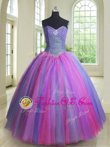 Beauteous Tulle Sweetheart Sleeveless Lace Up Beading Quinceanera Gowns in Royal Blue