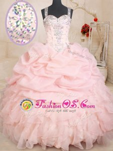 Exceptional Baby Pink Organza Zipper Straps Sleeveless Floor Length Quince Ball Gowns Beading and Ruffles and Pick Ups