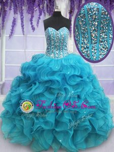 Royal Blue Strapless Neckline Beading and Lace and Pick Ups Quinceanera Gown Sleeveless Lace Up