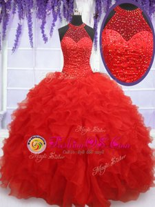Comfortable Halter Top Floor Length Red Sweet 16 Quinceanera Dress Organza Sleeveless Beading and Ruffles