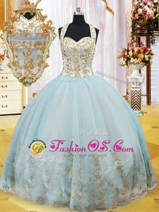Exquisite Light Blue Lace Up Halter Top Appliques Sweet 16 Quinceanera Dress Organza Sleeveless
