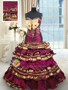 Custom Fit Ruffled Layers Burgundy Sleeveless Taffeta Brush Train Lace Up 15th Birthday Dress for Military Ball and Sweet 16 and Quinceanera