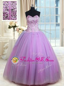 Lavender Tulle Lace Up Quinceanera Gowns Sleeveless Floor Length Beading