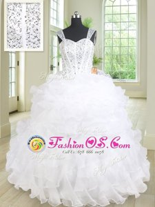 Straps Sleeveless Quinceanera Dresses Floor Length Beading and Ruffles and Pick Ups White Organza