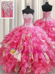 Sequins Ball Gowns Sweet 16 Dress Hot Pink Sweetheart Organza Sleeveless Floor Length Lace Up