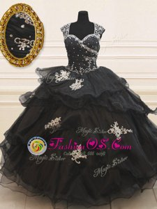 Nice Black Organza Zipper Sweet 16 Dress Cap Sleeves Floor Length Beading and Appliques and Ruffles