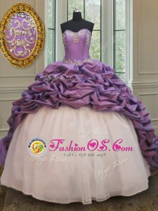 Comfortable Pick Ups White And Purple Sleeveless Organza and Taffeta Court Train Lace Up 15th Birthday Dress for Military Ball and Sweet 16 and Quinceanera