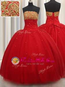 Great Red Tulle Lace Up Strapless Sleeveless Floor Length Vestidos de Quinceanera Beading