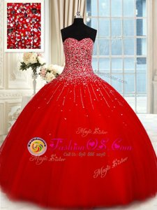 Hot Sale Tulle Sleeveless Floor Length Quinceanera Gowns and Beading