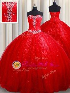 Red Lace Up Sweet 16 Dress Beading Sleeveless