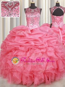 Scoop Sleeveless Lace Up Floor Length Beading and Ruffles and Pick Ups 15 Quinceanera Dress
