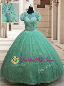 Adorable Scoop Lace Floor Length Ball Gowns Short Sleeves Apple Green Ball Gown Prom Dress Zipper
