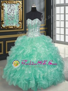 Top Selling Multi-color Sleeveless Beading and Ruffles Floor Length Quince Ball Gowns