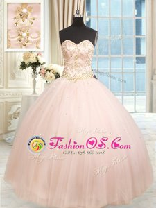 Sweetheart Sleeveless Lace Up Sweet 16 Dress Baby Pink Satin and Tulle