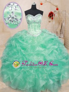 Beauteous Ball Gowns Sweet 16 Dresses Apple Green Sweetheart Organza Sleeveless Floor Length Lace Up