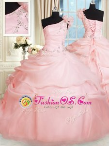 Latest Ball Gowns Quinceanera Dress Pink One Shoulder Organza Sleeveless Floor Length Lace Up