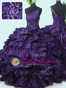 Great One Shoulder Sleeveless Lace Up Floor Length Beading and Pick Ups Sweet 16 Quinceanera Dress