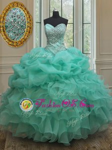 Sleeveless Floor Length Beading and Ruffles Lace Up Sweet 16 Dresses with Aqua Blue