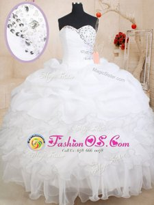 Clearance Floor Length Multi-color Quinceanera Gowns Organza Sleeveless Beading and Ruffles
