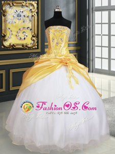 Customized White Ball Gowns Organza Sweetheart Sleeveless Beading and Ruffles Floor Length Lace Up Sweet 16 Dress
