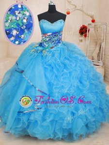 On Sale Royal Blue Organza Lace Up Sweetheart Sleeveless Quinceanera Gowns Brush Train Beading and Ruffles