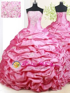 Stylish Hot Pink Taffeta Lace Up Strapless Sleeveless With Train Sweet 16 Dresses Brush Train Beading and Pick Ups