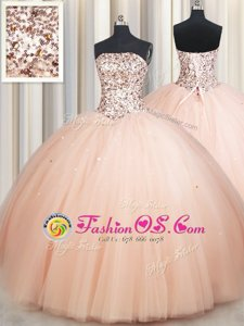 Affordable Strapless Sleeveless Sweet 16 Quinceanera Dress Floor Length Beading Peach Tulle