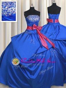 Beautiful Ball Gowns Vestidos de Quinceanera Blue Strapless Taffeta Sleeveless Floor Length Lace Up