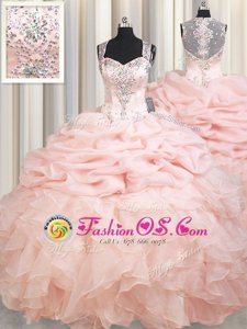 Straps Beading and Ruffles and Pick Ups Quinceanera Dress Pink Zipper Sleeveless Brush Train
