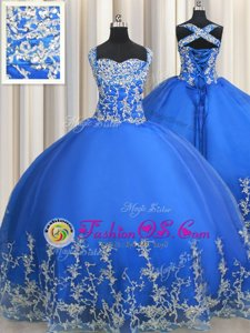 Tulle Straps Sleeveless Lace Up Beading and Appliques Sweet 16 Quinceanera Dress in Blue