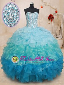 New Arrival Aqua Blue Lace Up Sweetheart Beading and Embroidery 15 Quinceanera Dress Taffeta Sleeveless
