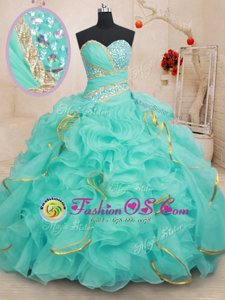 Cute Floor Length Lace Up Ball Gown Prom Dress Turquoise and In for Military Ball and Sweet 16 and Quinceanera with Beading and Ruffles