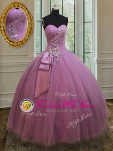 High Class Baby Pink Ball Gowns Sweetheart Sleeveless Tulle Floor Length Lace Up Beading 15th Birthday Dress
